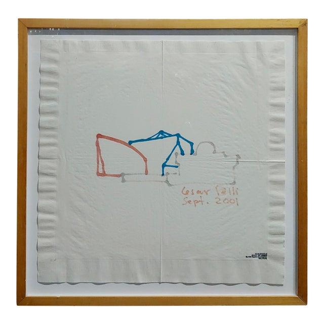 La Pacific Design Center Architect Napkin Sketch by Cesar Pelli For Sale