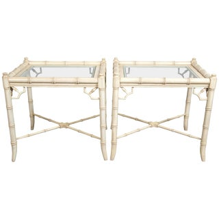 1970s Vintage Ficks Reed Faux Bamboo Side Tables- a Pair For Sale