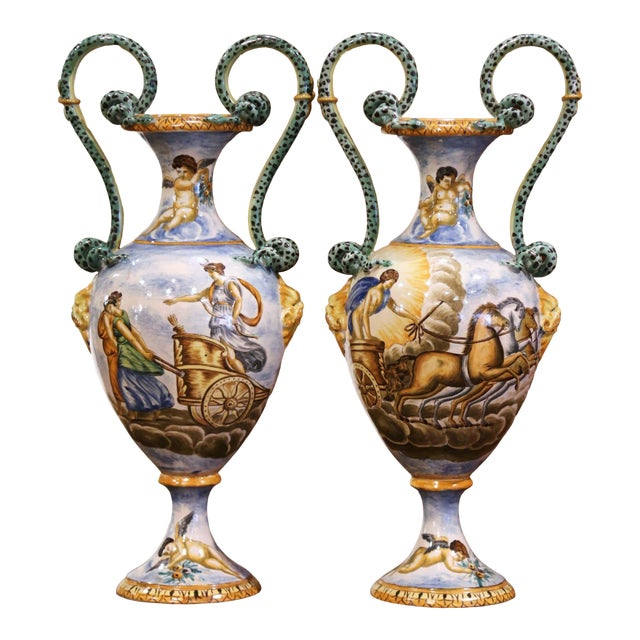 19th Century Italian Classical Painted Majolica Vases With Roman Scenes - a Pair For Sale
