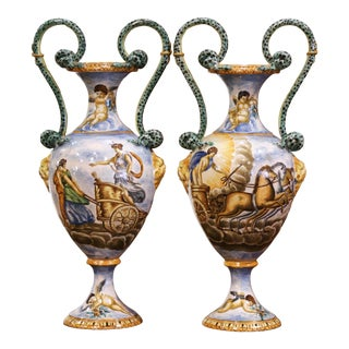 Pair of 19th Century Italian Classical Painted Majolica Vases With Roman Scenes For Sale