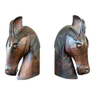 Pair of Carved Wood Horse Heads For Sale