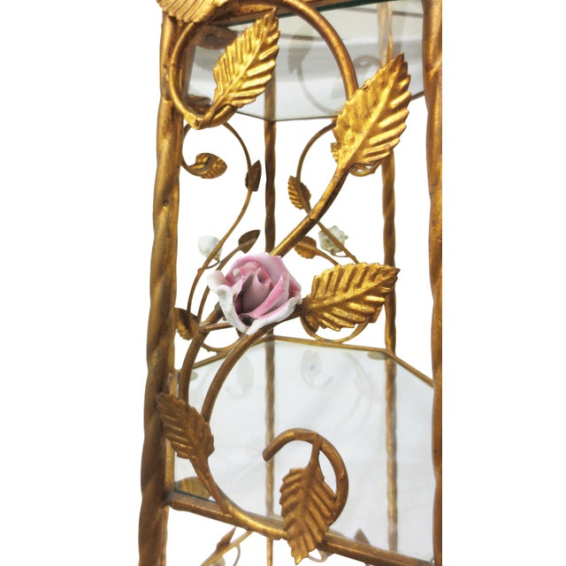 Italian Rococo Brass & Floral Étagère - Image 7 of 9