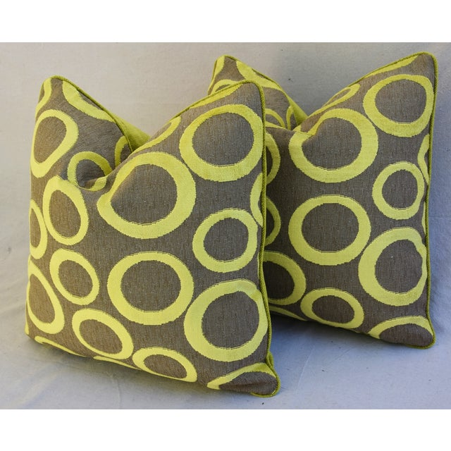 Hollywood Glam Lime Opuzen Cut Velvet Pillows - a Pair - Image 7 of 11