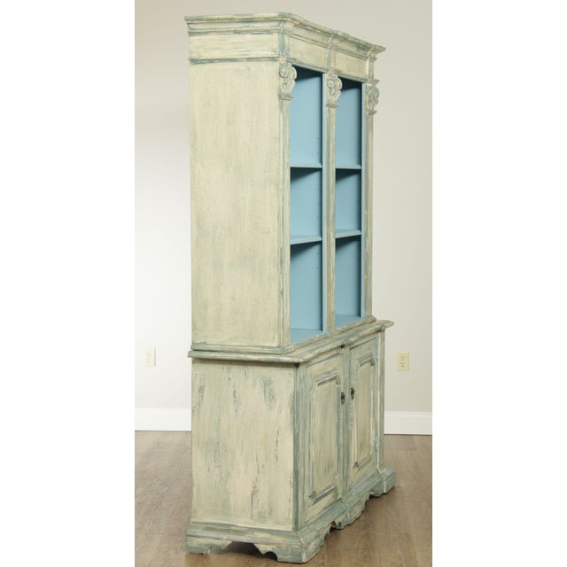 Italian Custom Faux Blue Painted Architectural Bookcase For Sale - Image 4 of 13