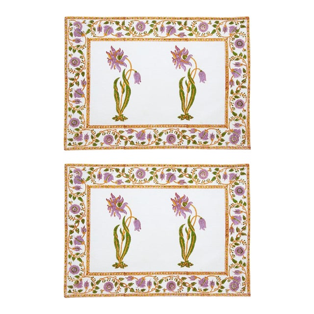 Florence Placemats Lilac & Green - A Pair For Sale