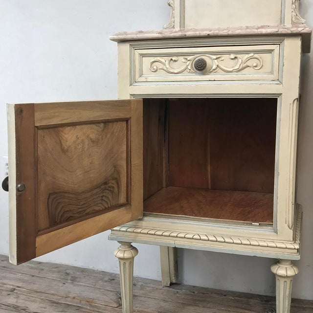 Pair Antique Italian Louis XVI Painted Nightstands For Sale - Image 11 of 13