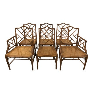 Faux Bamboo Chippendale Chairs - Set of 6 For Sale