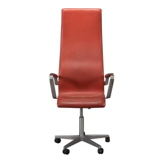High Back Leather Oxford Desk Chair by Arne Jacobsen For Sale
