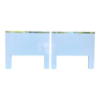 Vintage White Laminate & Chrome Twin Sized Headboards - a Pair For Sale