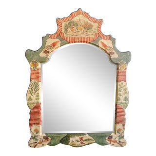 Large Vintage Pagoda Style Chinoiserie Painted Mirror