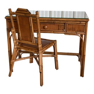 Coastal Rattan Desk and Chair For Sale