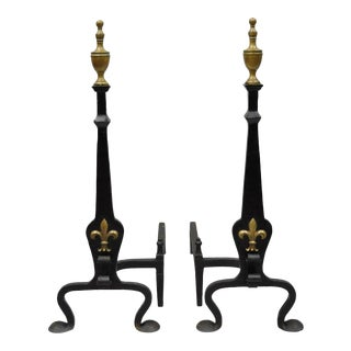 Gothic Revival Wrought & Forged Iron Brass Urn Finial Fireplace Andirons - a Pair For Sale