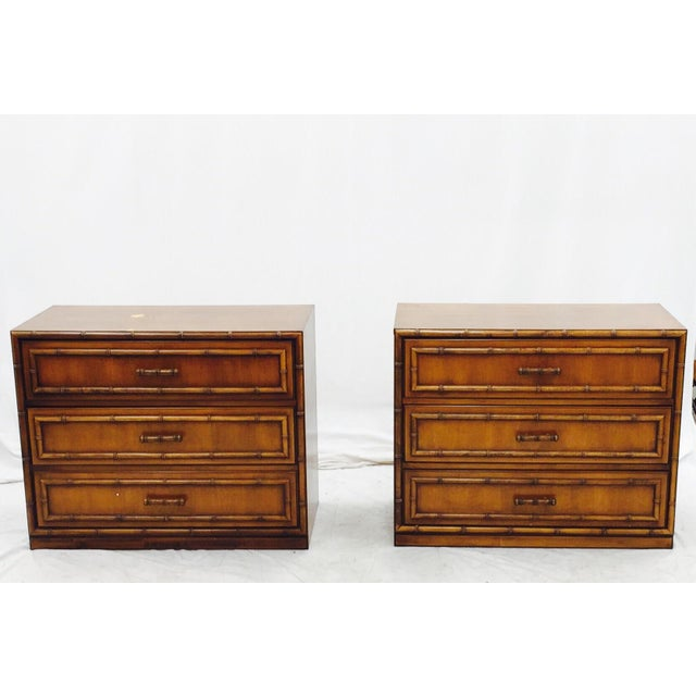 Vintage Mid-Century Bamboo Bedside Chests - A Pair - Image 2 of 10
