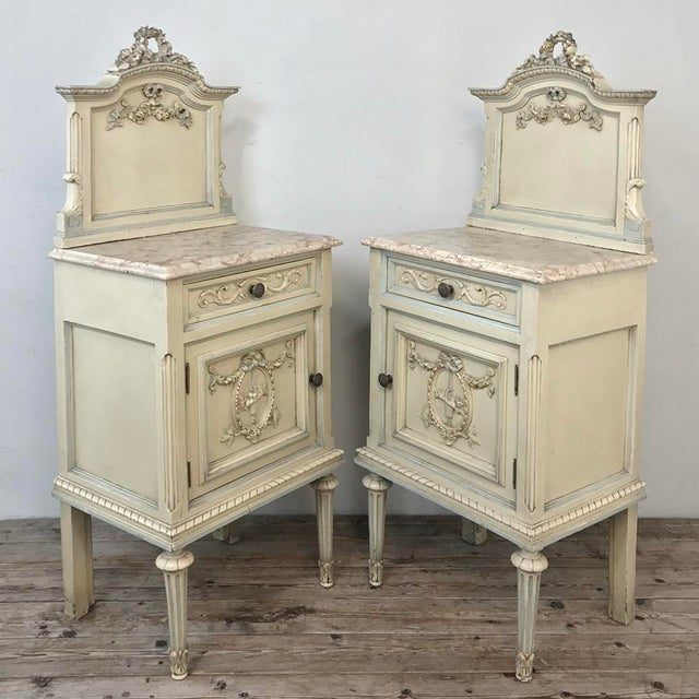 Pair Antique Italian Louis XVI Painted Nightstands For Sale - Image 4 of 13