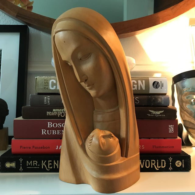 Modern Art Deco Olivewood Mother &Child Bust - Image 5 of 5