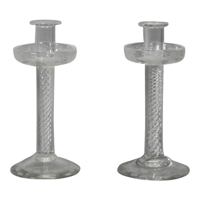 Pair of Victorian Etched Glass Candlesticks For Sale