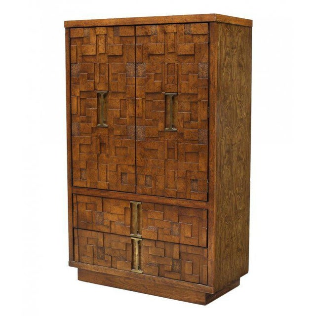 Lane Brutalist Style Wood Mosaic Bachelor's Chest, circa 1970 For Sale - Image 5 of 5