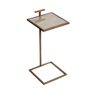 Faux Shagreen Square Drink Table