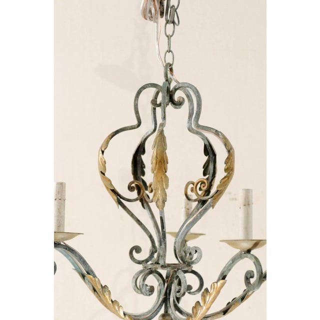 Mid 20th Century French Five-Light Painted Iron Chandelier Featuring Lovely Acanthus Leaf Motifs For Sale - Image 5 of 8