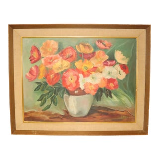 Vintage Mid-Century Floral Still Life Painting For Sale