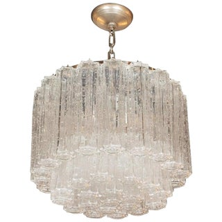 Mid-Century Modern Handblown Murano Tronchi Chandelier With Chrome Fittings For Sale