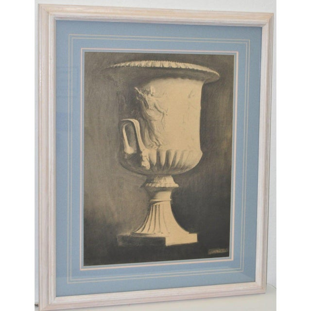 Beautiful mid 19th century charcoal drawing of a classical urn by John Reid. Signed lower right and beautifully framed....