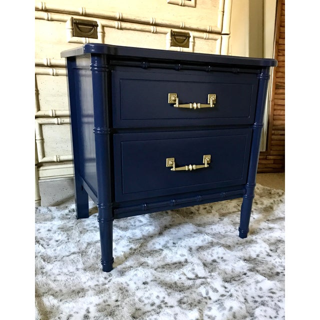 Vintage Mid-Century Henry Link Style Navy Blue Faux Bamboo Nightstand For Sale - Image 13 of 13