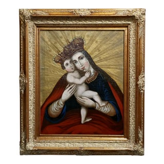 18th Century Spanish Colonial Mother W/Child Oil Painting
