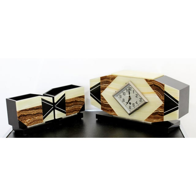 Art Deco Nouveau Marble & Onyx Mantle Clock W Matching Bookends For Sale - Image 4 of 9