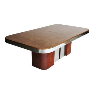 Brueton Burl Wood and Steel Dining Table For Sale