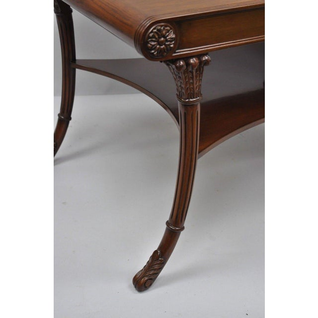 Nancy Corzine French Regency Style Mahogany Saber Leg Coffee Cocktail Table For Sale In Philadelphia - Image 6 of 10