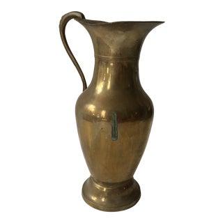 Vintage Large Brass Pitcher Vase For Sale