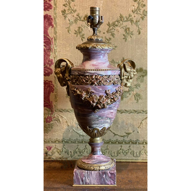 French Breche Violette Marble Urn Lamp With Gilt Rams Head and Swags For Sale - Image 10 of 11