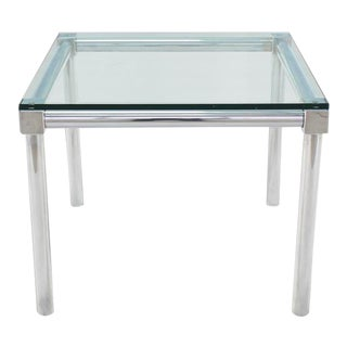 Vintage Mid Century Chrome and Thick Glass Top Square Game Table For Sale