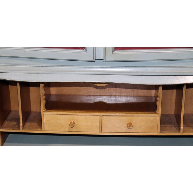 Blue French Louis XV Style Secretary Desk For Sale - Image 8 of 12