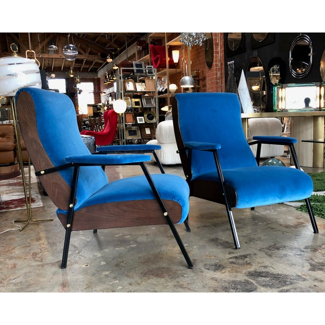 Pair of Lounge and Club Armchairs in Wood and Blue Suede, Italy 1950s