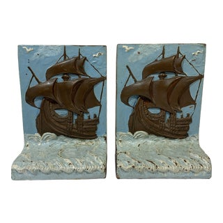 Antique 1920s Painted Bronze Clad Tall Ship Mayflower Bookends - a Pair For Sale