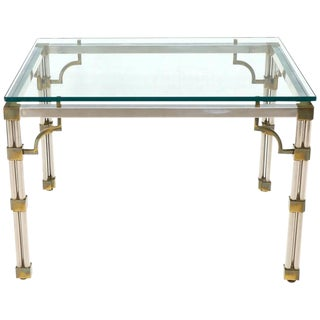 Petit Chrome Brass and Thick Glass Top Dining or Writing Table For Sale