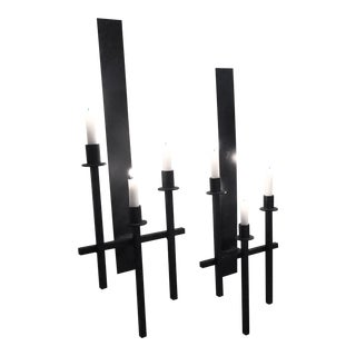 Van Keppel Green Iron Candle Holders - a Pair For Sale
