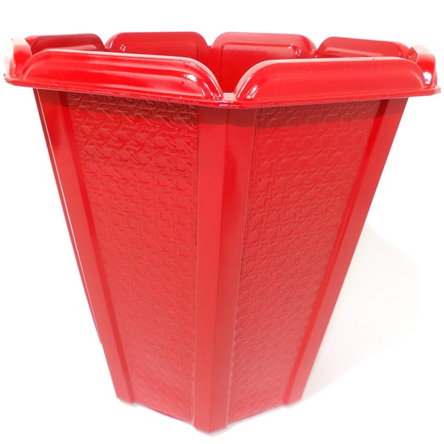 Mid-Century Modern Red Trash Can / Bin For Sale - Image 9 of 9