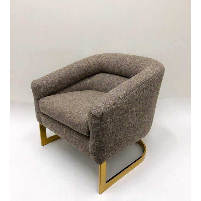 Mid-Century Modern Milo Baughman Brass and Fabric Lounge Chairs - a Pair For Sale - Image 3 of 9