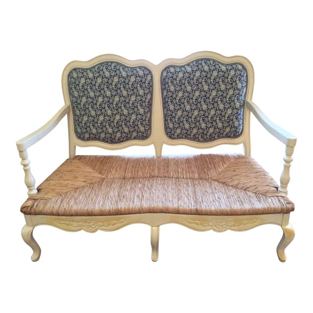 Antique Styled White Country French Provential Rush Seat Settee For Sale