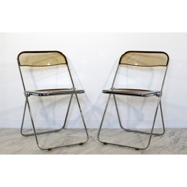 Mid-Century Modern 1960s Castelli Mid Century Modern Smoked Lucite Folding Chairs Italy - Set of 10 For Sale - Image 3 of 12
