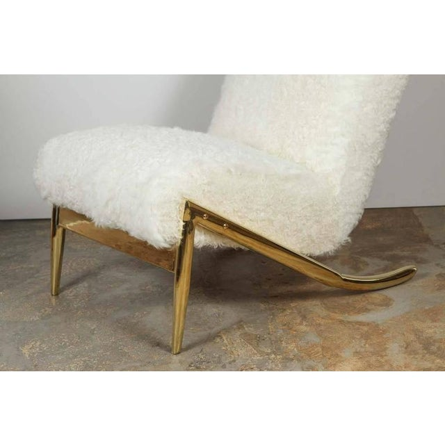 Paul Marra Slipper Chair in Brass with Curly Goat - Image 3 of 7