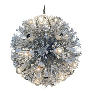 Monumental Chrome Snowflake/Dandelion Chandelier For Sale