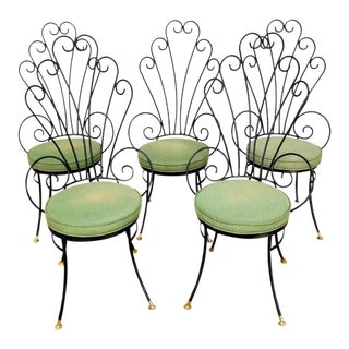Mid Century Wrought Iron Peacock Chairs - Set of 5 For Sale