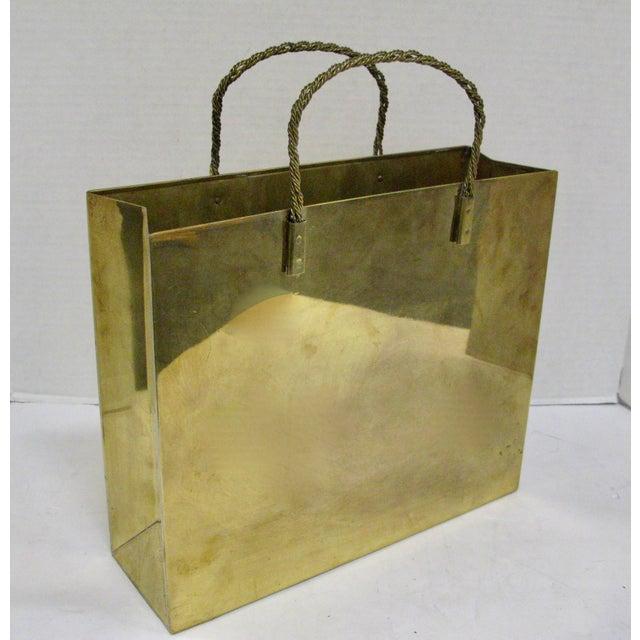 Hollywood Regency Circa 1970 Brass Shopping Bag - Image 2 of 7