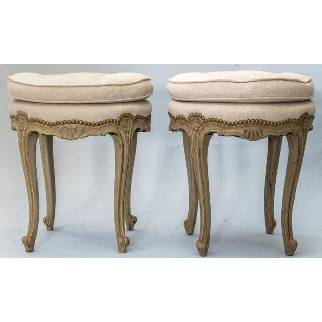 French Pair of Louis XV Style Painted Stools For Sale - Image 3 of 10