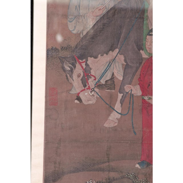 Paint Chinese Scroll Painting of a Dignitary on Horseback For Sale - Image 7 of 11