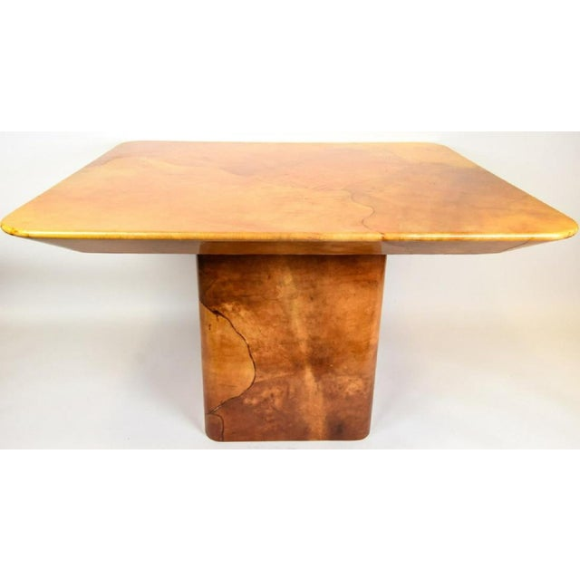 Brown Faux Goatskin Dining Table by Karl Springer. For Sale - Image 8 of 8